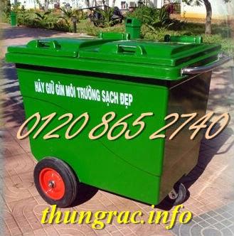 Xe đẩy rác 660L nhựa composite