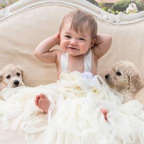 Joyful by Dan Bartlett - Babies & Children Child Portraits ( puppies, joy, happy, white, puppy, baby )