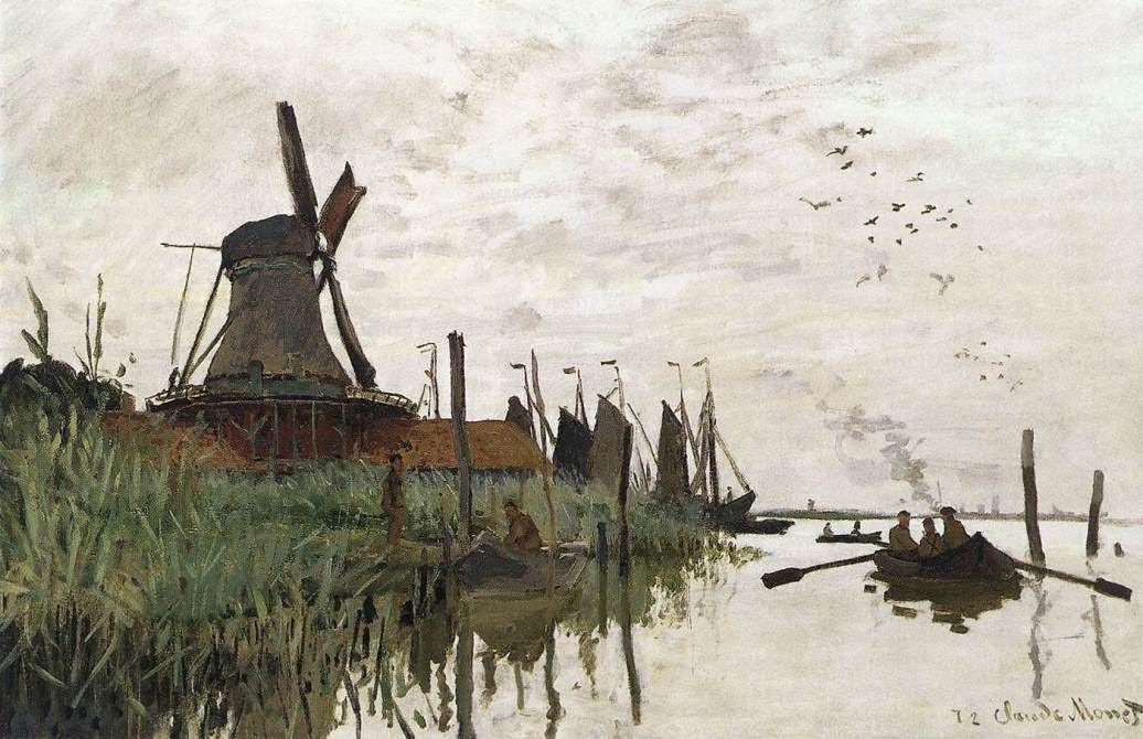 Windmill at Zaandam by Claude Oscar Monet 1871.