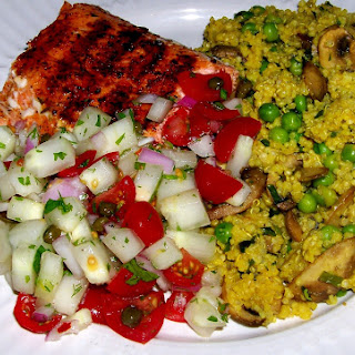 Crunchy Cucumber Salsa and Grilled Salmon
