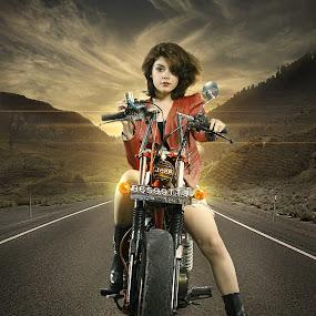 Lady Biker by Steven Chu - Digital Art People ( biker, digital art, steven chu, lady, digital imaging, photography )