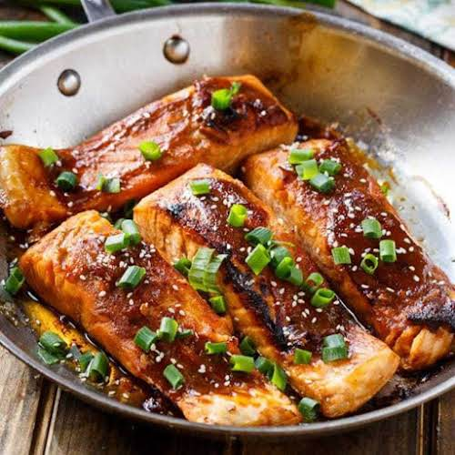 """Click Here for Recipe: Teriyaki Salmon """"The marinade is sweet, salty, and..."""