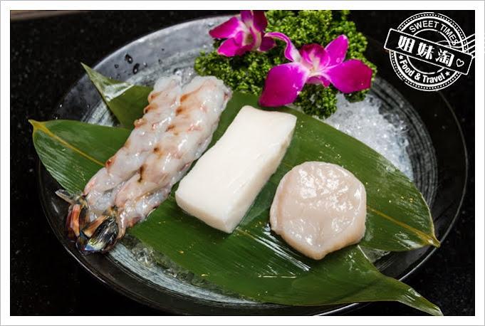 家蒂諾鐵板燒溫莎花園野生明蝦日本干貝深海鮮魚
