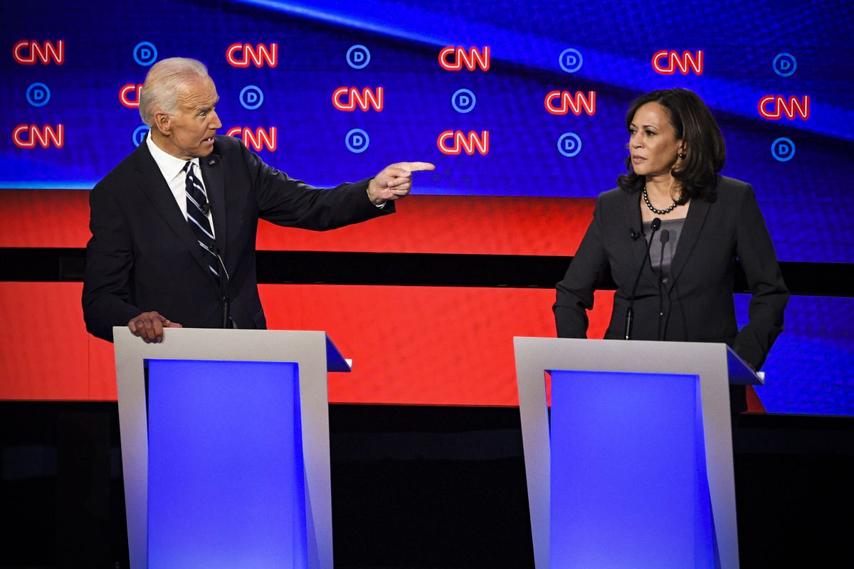 Democratic presidential hopeful former Vice President Joe Biden gestures toward Sen. Kamala Harris (D-CA) during the second round of the second Democratic primary debate of 2020 presidential campaign season.