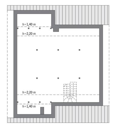 Miarodajny - wariant II - C333b - Rzut poddasza Do indywidualnej adaptacji (83,1 m2 powierzchni użytkowej)