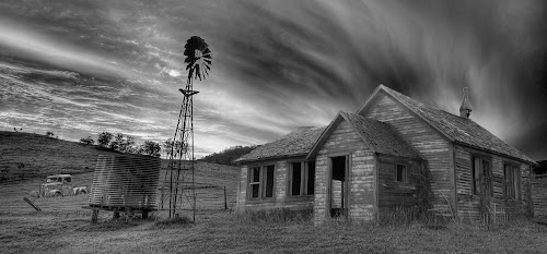 Old House on a Hill by Simon  Rees - Black & White Landscapes