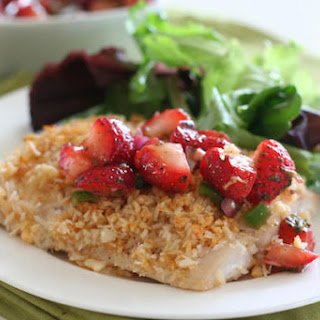 Macadamia Nut Crusted Mahi Mahi with Strawberry Lime Salsa.
