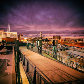 Out from the Ballpark by Bob Stafford - City,  Street & Park  Skylines ( sunset, buildings, walkway, cityscape, detroit, nightscape )