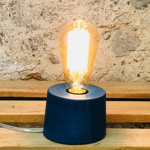 lampe béton design bleu pétrole