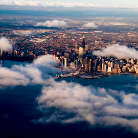 Chicago from above  by Nelida Dot - City,  Street & Park  Skylines ( clouds, skyline, skyscraper, chicago, panoramic,  )