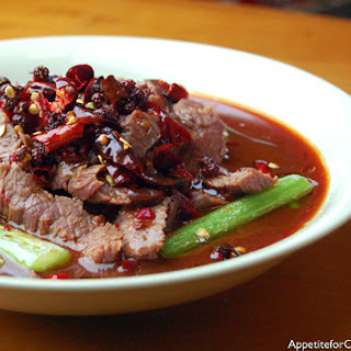 Sichuan Boiled Beef in Fiery Sauce.