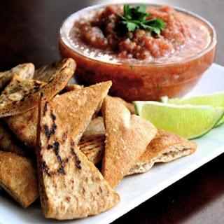 Salsa Cruda with Baked Garlic & Lime Pita Chips