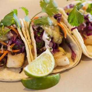 Halibut Tacos with Avocado Salsa Verde