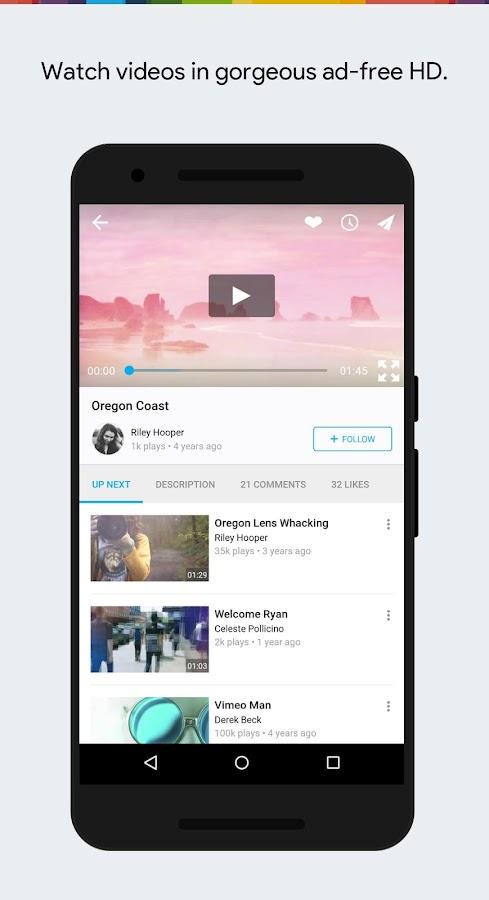 Screenshots of Vimeo for iPhone
