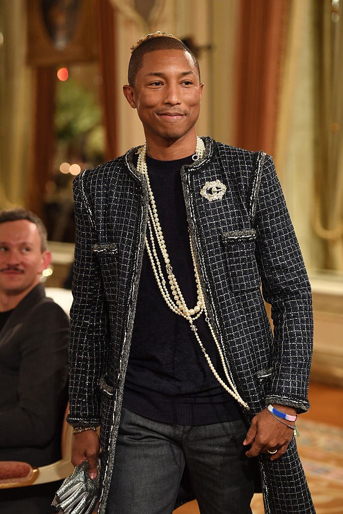 Pharell Williams at the Chanel Collection des Metiers d'Art 2016/17: Paris Cosmopolite' show in France.
