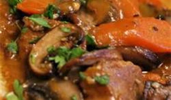 Pour sauce over meat and vegetables. Cover and simmer 2 to 3 minutes, basting...