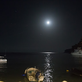 harbour at night  by Karen Shivas - Landscapes Waterscapes ( water, moon, boats, moonlight, island,  )