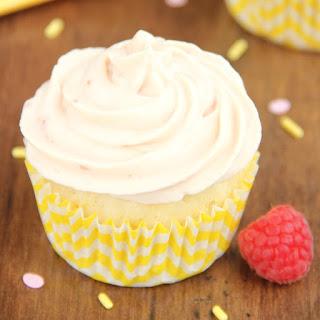 Lemon Cupcakes with Raspberry Vanilla Yogurt Frosting.