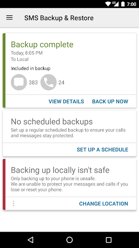 SMS Backup & Restore Android App Screenshot