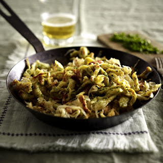 Parsley Spätzle with Bacon and Sauerkraut.