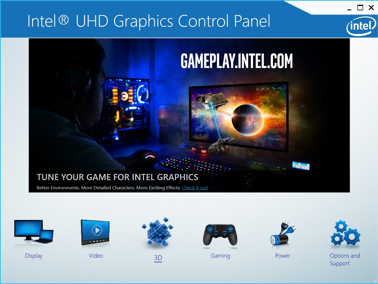 The Intel UHD Graphics Control Panel main menu