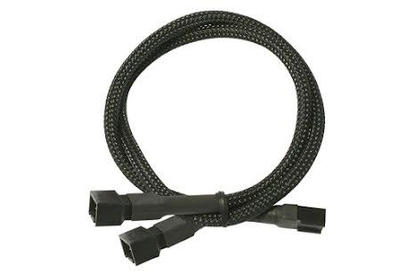 Forgrener, 3 pins vifte til 2x3 pins vifte, kabelstrømpe, 30 cm, sort