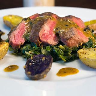 Pan Seared Petit Fillet Steak with Mustard Sauce.