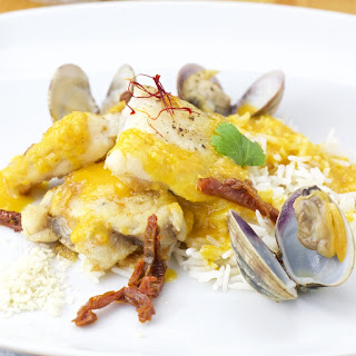 Monkfish in a Saffron-Almond sauce and dried tomatoes