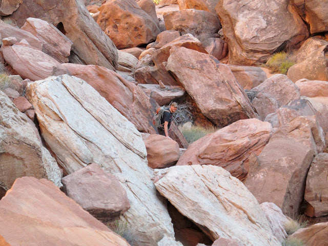 Chris unknowingly took the difficult way through the boulders