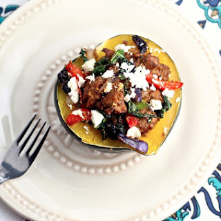 Sausage Stuffed Acorn Squash with Peppers & Goat Cheese