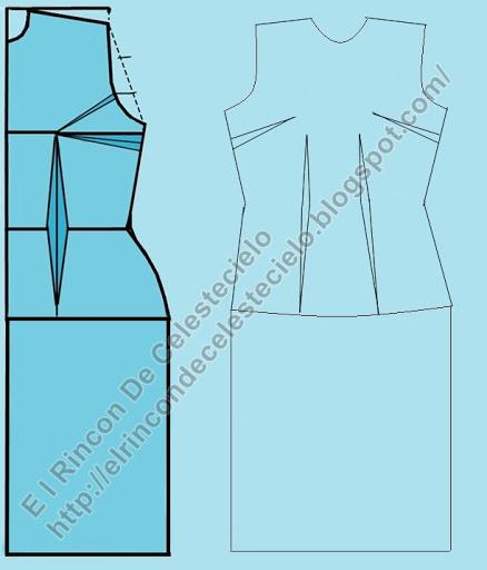 Transformación de patrón delantero de blusa básica con pinzas en vestido recto y dibujo de delantero de vestido