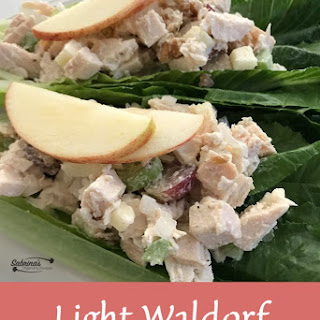 Light Waldorf Chicken Salad on Romaine Lettuce.