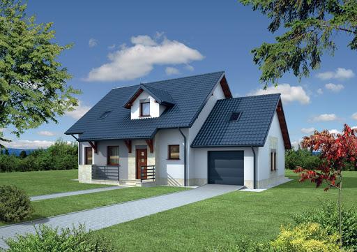 projekt Dom za rogiem - wariant IV (z wentylacją mechaniczną) - EC110d