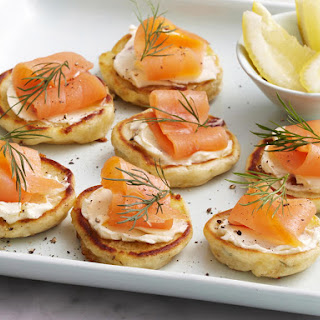 Cheese, Dill, and Smoked Salmon Blinis