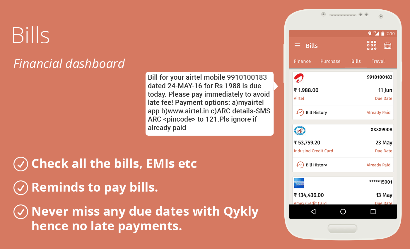 Daily expense manager: Qykly- screenshot