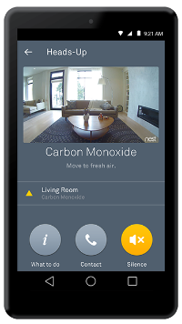 Nest app Carbon Monoxide heads up with camera page