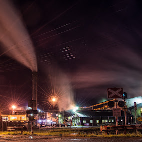 The Sugar Mill by night  by Charlotte Hellings - City,  Street & Park  Street Scenes ( lights, mill, industrial, stars, fakelight, night, steam )