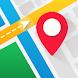 リアルタイムGPS、地図、ルート、方向と交通