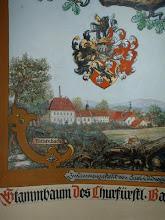 Photo: Gutshof in Röthenbach,  Malerei von 1928, mit Wappen der Familie von Grafenstein. Das Schloss erscheint weiß gestrichen. Gauben und zwei Kamine sind erkennbar. Hinter dem Schloss der Hochkamin der Brannweinbrennerei.