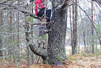 Photo: Orkan prøver seg på treklatring opp til figurant Torhild