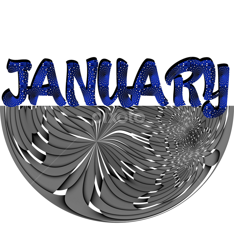 The month January. by Dipali S - Typography Words ( abstract, creation, pattern, january, wallpaper, illustration, artistic, design, print, calendar )