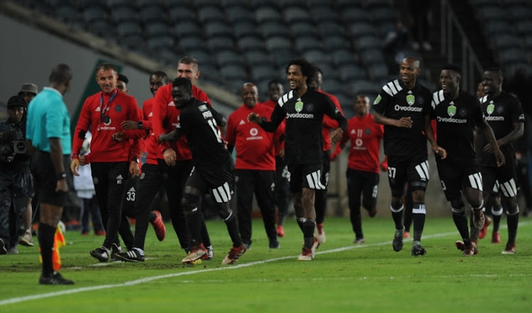 Bernard Morrison of Pirates celebrating his second goal with team mates during the Nedbank Cup Last 32 match between Orlando Pirates and Ajax Cape Town at Orlando Stadium on February 10, 2018 in Johannesburg.