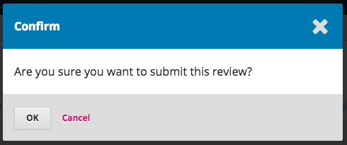The confirmation screen to submit review