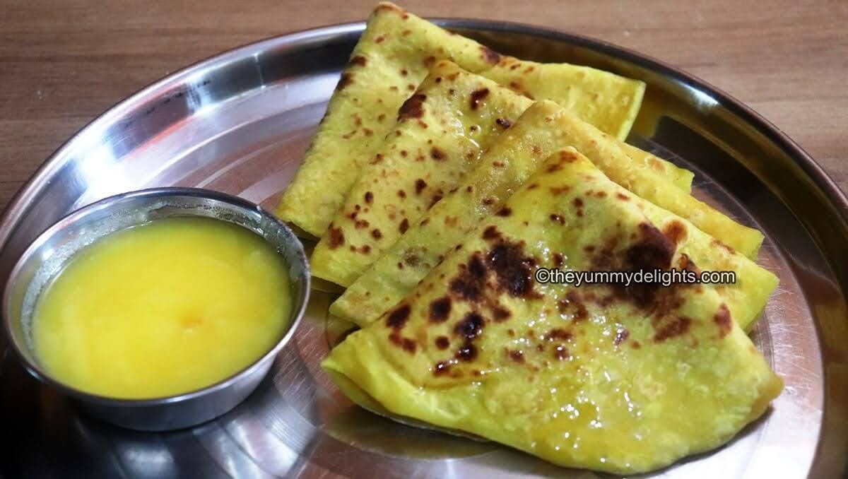 Puran Poli served in a thali with Ghee