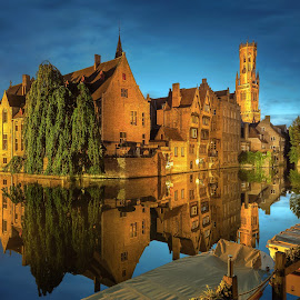 by Nick Moulds - City,  Street & Park  Historic Districts ( water, reflection, bruges, night, canal )