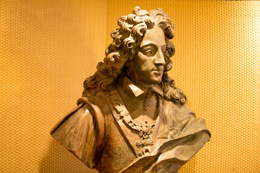 A terracotta statue of France's King Philip V, dating to the early 1800s, on ms Oosterdam.