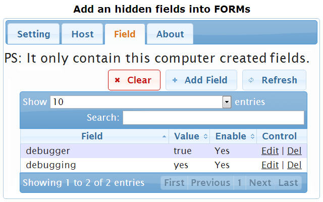 Web Debug Field