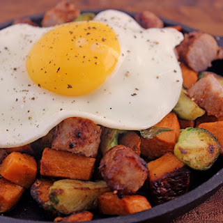 Sausage & Egg Skillet with Thanksgiving Leftovers.