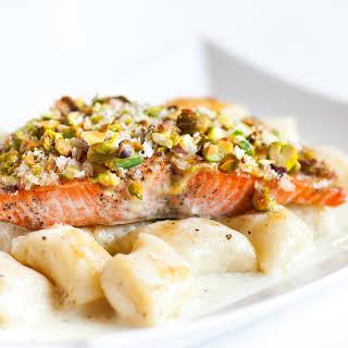 Pistachio-Crusted Salmon With Gnocchi.