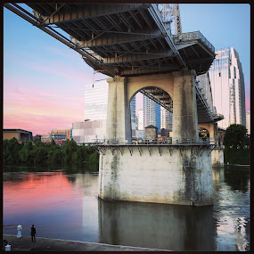Cumberland Park by Mary Phelps - City,  Street & Park  City Parks ( cumberland park, sunrise, nashville, tennessee, cumberland river, downtown, river, bridge, instagram, iphone,  )
